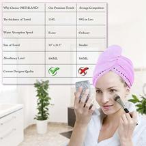 Orthland Microfiber Hair Towel Drying Wrap [2 Pack] Hair Turban Head Wrap with B image 2