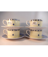 Royal Doulton Carmina Flat Cups Fine China Lot of 4 Cups and Saucers  - $59.39