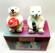 2002 Coca Cola Playtime Cubs Salt & Pepper Shakers Set Coke Polar Bears ... - $14.50