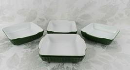"4 Square Casserole Dishes Ceramic Stoneware Green White Handled 6.25"" - $17.81"
