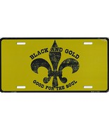 Saints Fleur De Lis Metal License Plate Tag (B&G Gold) - $12.21