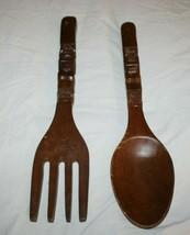 """Fork & Spoon 18"""" Set Carved Wood Tiki Bar Wall Hanging Kitsch Totem Man ... - $29.79"""