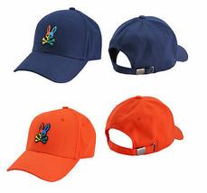 Psycho Bunny Men's Cotton Rubber Logo Sports Baseball Cap Strap Back Hat