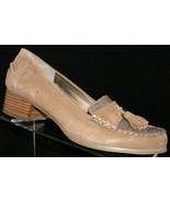 Bandolino 'Lapile' brown leather croc print tassel penny loafer block he... - $30.44