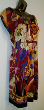 ECI Retro Silk Dress, Red, Purple, Cream, Black, Size 4 - $24.99