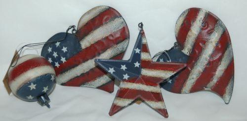 Hannas Handiworks 60650 American Flag 4 Ornament Set 2 Hearts 1 Ball Star