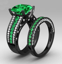 Princess Cut Green Sapphire Black Gold Plated 925 Silver Bridal Wedding Ring Set - $104.33