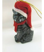 Kurt Adler American Short Hair Black Cat Glass Christmas Ornament 33058 - $29.69
