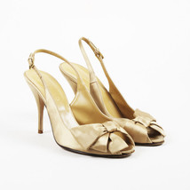 Valentino Garavani Gold Satin Peep Toe Bow Pumps SZ 38.5 - $120.00