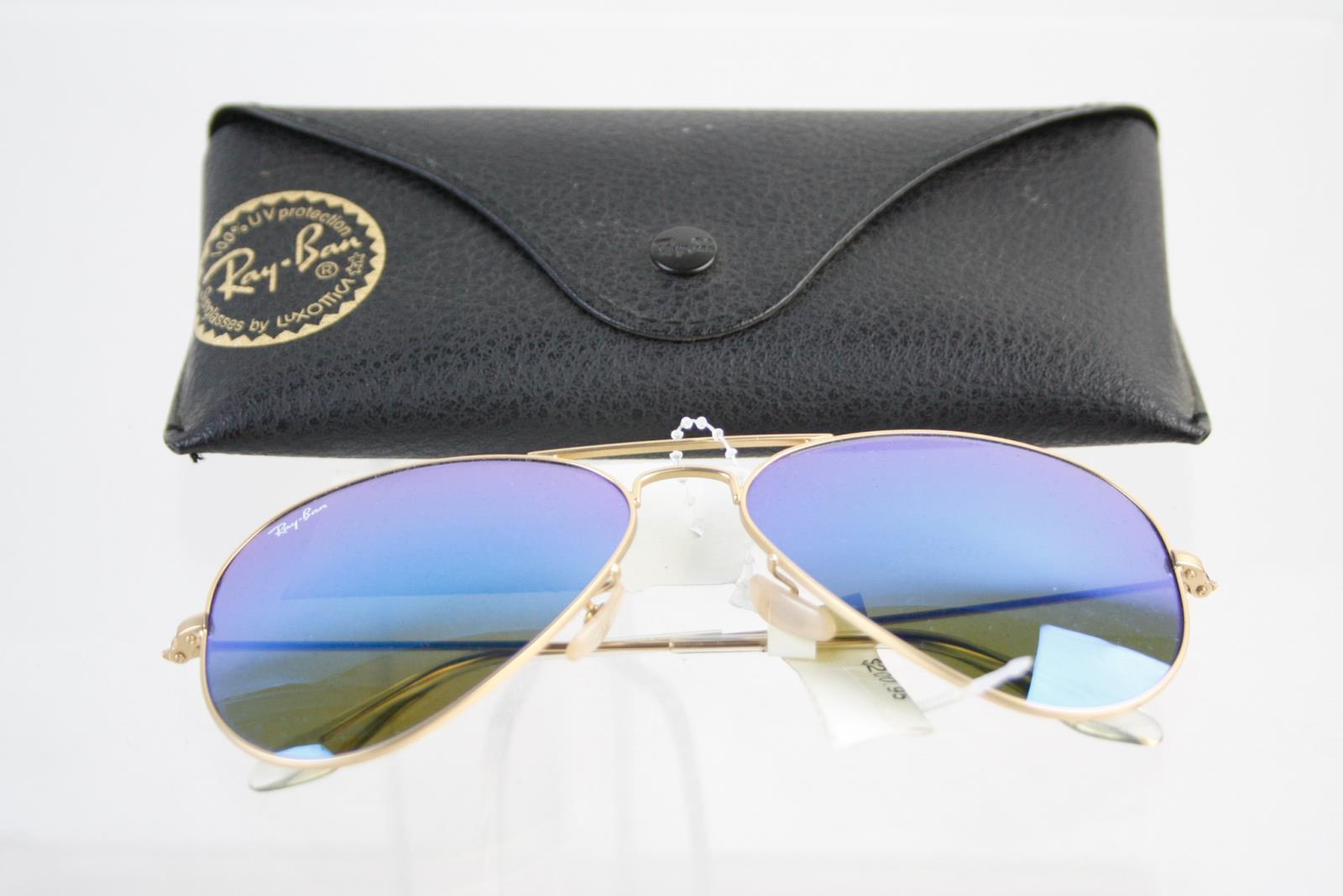 Primary image for RAY BAN Aviator SUNGLASSES with case - NWT - Large Metal - made in ITALY