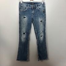"Silver Suki 17"" Boot Cut Distressed Destroyed Jeans Sz 27 Wide Stitch De... - $29.03"
