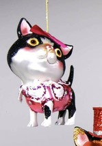 Katherine's Collection calico Cat Christmas Ornament 22-24376 black white - $16.99