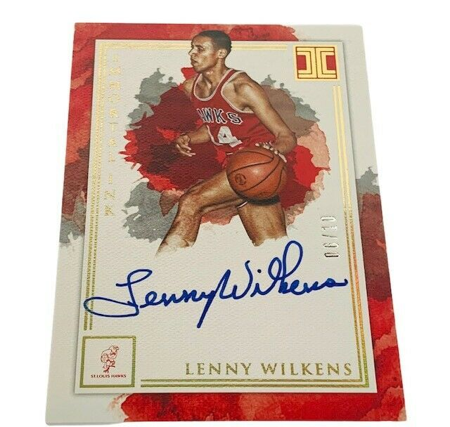 Lenny Wilkens Autograph /10 Impeccable Immortal ink ON CARD auto Hawks HOF Cavs - $74.25