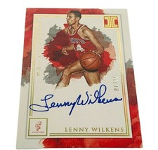 Lenny Wilkens Autograph /10 Impeccable Immortal ink ON CARD auto Hawks H... - $74.25