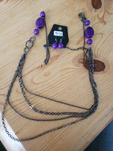 Primary image for 973 GRAY W/ PURPLE BEADS NECKLACE SET (new)