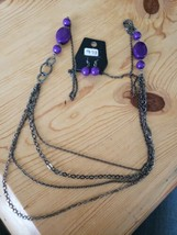 973 Gray W/ Purple Beads Necklace Set (New) - $8.58