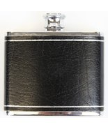 4oz. Black Leather Embossed Chrome Flask - $150.00