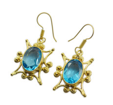 Blue Gold Plated Fashion fine-looking blue topaz cz handcrafted Earring UK gift - $18.44