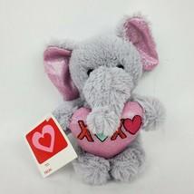 "Dan Dee Collectors Elephant 7"" Plush Valentine XOXO Heart Pink Sparkle E... - $19.35"