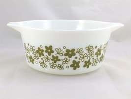 Pyrex 474-B Spring Blossom Crazy Daisy 1½ qt Casserole Dish Green on Mil... - $14.95