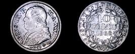 1868-XXIIIR Italian States Papal States 10 Soldi World Silver Coin - Piu... - $39.99