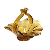 Fenton Art Glass Vintage Amber Glass Crimped Basket  - $24.70