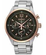 Latest Seiko SSB068P1 Black Dial Stainless Chronograph Watch - £93.75 GBP