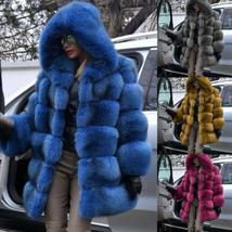 Women's Trendy Winter Quilted Faux Fur Hooded Thick Coat in 4 Hot Colors