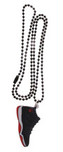 Good Wood NYC Retro Bred 11's Sneaker Necklace Black/White/Red Playoff XI Kicks image 2