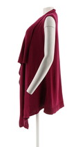 Halston Waffle Stitch Cascade Collar Sweater Vest Dark Raspberry L NEW A272363 image 2