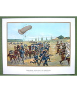 GERMAN ARMY Uniforms  Balloon Troops Cavalry Attack - 1899 Color Litho P... - $16.20