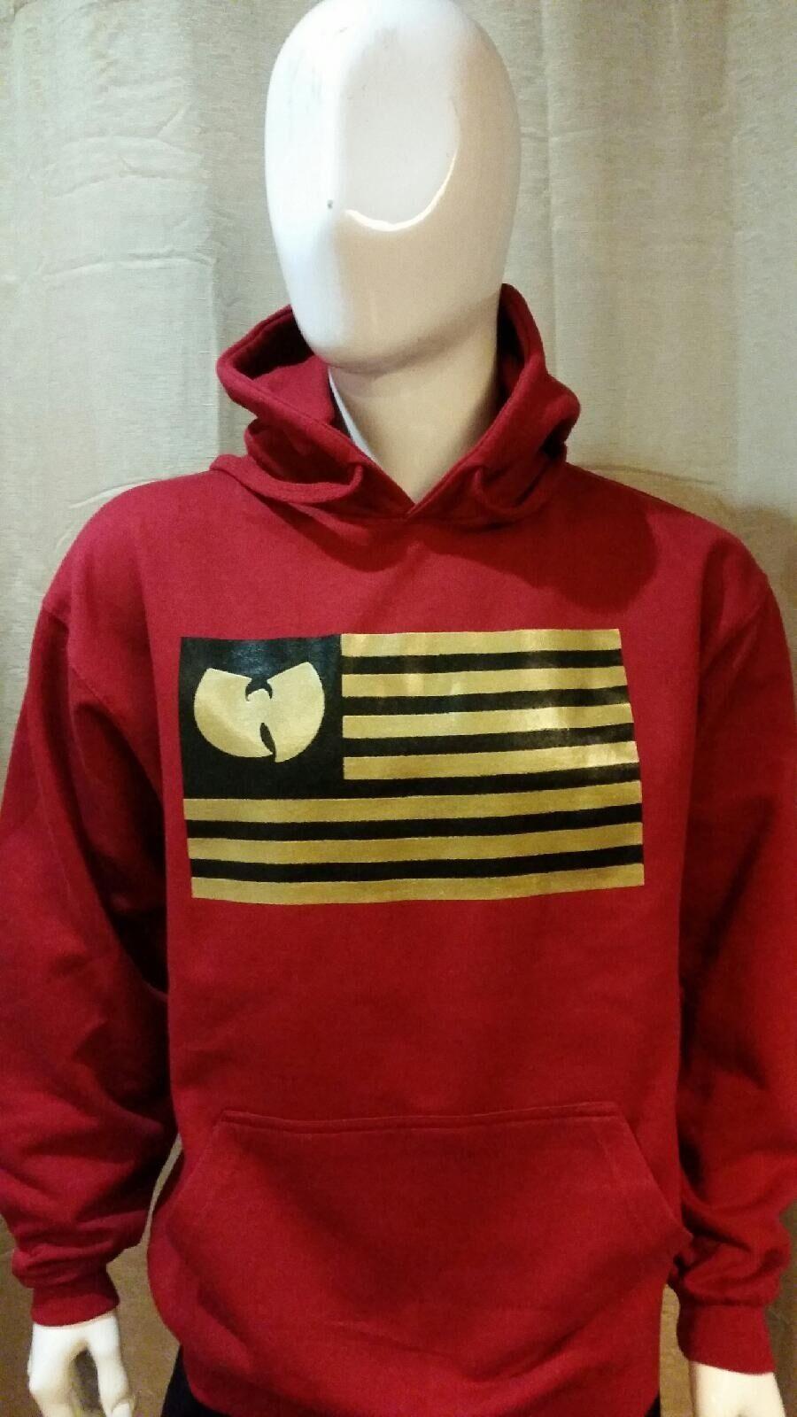 WUTANG  RED HOODIE  FLAG Pullover Hoodie WU-TANG Hoody  Run Dmc  LA