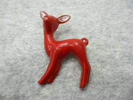 """Vintage Red Reindeer Brooch Pin Cellulose 1 3/4"""" Tall x 1"""" Wide - $9.99"""