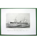STEAMSHIP Columbus West India & Pacific Steam Line 1876 Original Engravi... - $26.01