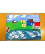 Coastal Village on the Atlantic Coast FREE S & H Folk Art Painting - $24.00