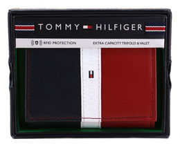 Tommy Hilfiger Men's Premium Leather Trifold Wallet Rfid Red Navy 31TL110022 image 9