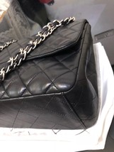 AUTH CHANEL BLACK QUILTED LAMBSKIN LEATHER MAXI CLASSIC FLAP BAG SHW image 6