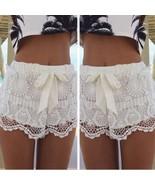 Fashion Women Mid Waisted Lace Chiffon Crochet Floral Bowknot Short Sho... - $27.65