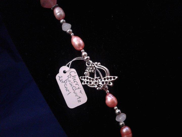 "22"" Handmade Cherry Quartz and Genuine Pearl Beaded Necklace Z187"