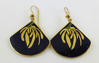 LAUREL BURCH Willow Fan Black Enamel Gold-Tone Drop Dangle EARRINGS