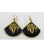 LAUREL BURCH Willow Fan Black Enamel Gold-Tone Drop Dangle EARRINGS - $32.57 CAD