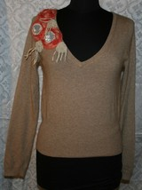 Anthropologie Glyn Mer Sz M Brown Lambswool Cashmere Angora Blend Sweater - $38.80