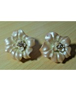 Vintage Signed NOLAN MILLER Cream Color Flower Clip Earrings W/Rhineston... - $65.00