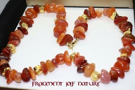 Midas touch spell necklace !!! Gemstone: multi carnelian / gold-coated p... - $69.95