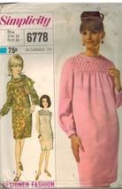 6778 Vintage Simplicity Schnittmuster Misses Designer Mode Kleid Schal Oop - $7.91