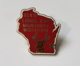 Elks Lodge Pin Milwaukee Wisconsin #46 Lapel Red Enamel Fraternal Organization image 1