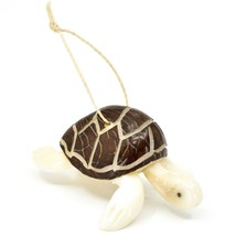 Hand Carved Tagua Nut Carving Sea Turtle Hanging Ornament Made in Ecuador