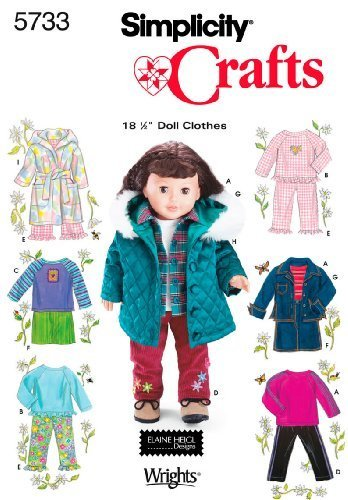 Simplicity Sewing Pattern 5733 Doll Clothes, One Size