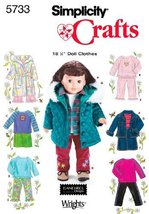Simplicity Sewing Pattern 5733 Doll Clothes, One Size - $13.48