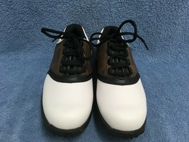 Footjoy Brown and White Saddle Style Soft Spike Golf Shoes Junior Youth Size 5 M - $26.92